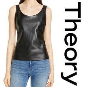Theory Scoop Neck Faux Leather Tank Top Size P